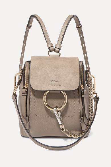 Faye Mini Textured-Leather And Suede Backpack in Gray