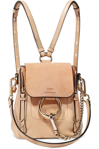 Faye Mini Textured-Leather And Suede Backpack in Sand