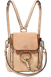 Faye mini textured-leather and suede backpack