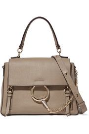 Chloé Faye Day large leather and suede shoulder bag