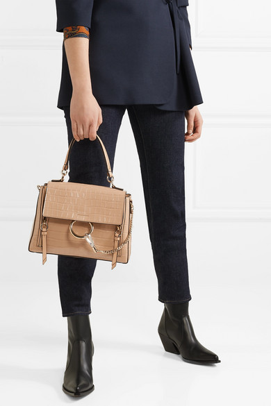 Faye Day Small Croc Effect Leather Shoulder Bag by Chloé