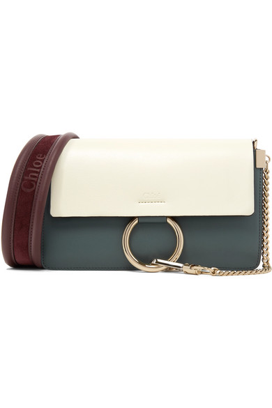 0972b336eb285 Chloé | Faye small color-block leather and suede shoulder bag | NET ...