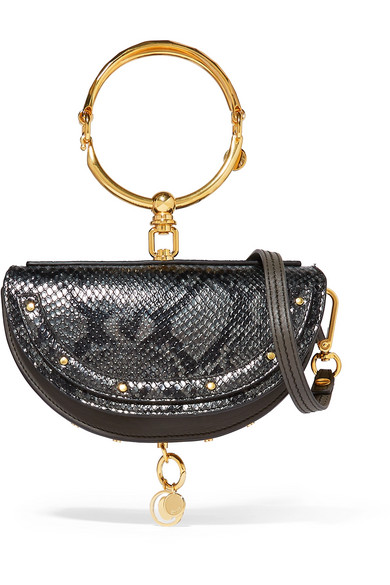 Nile Bracelet Mini Snake Effect Leather Shoulder Bag by Chloé