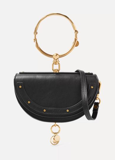 Chloé Nile Bracelet Mini Textured Leather Shoulder Bag Net A Porter Com
