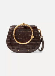 Nile small suede-trimmed croc-effect leather shoulder bag