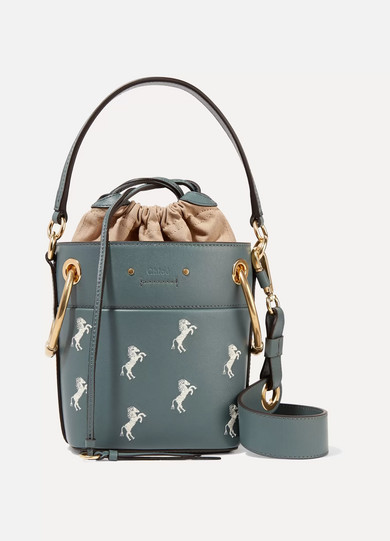 Chloe Mini Roy Horse Embroidered Bucket Bag In Blue in Gray Green