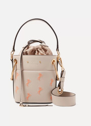 Chloé Roy mini embroidered textured-leather bucket bag