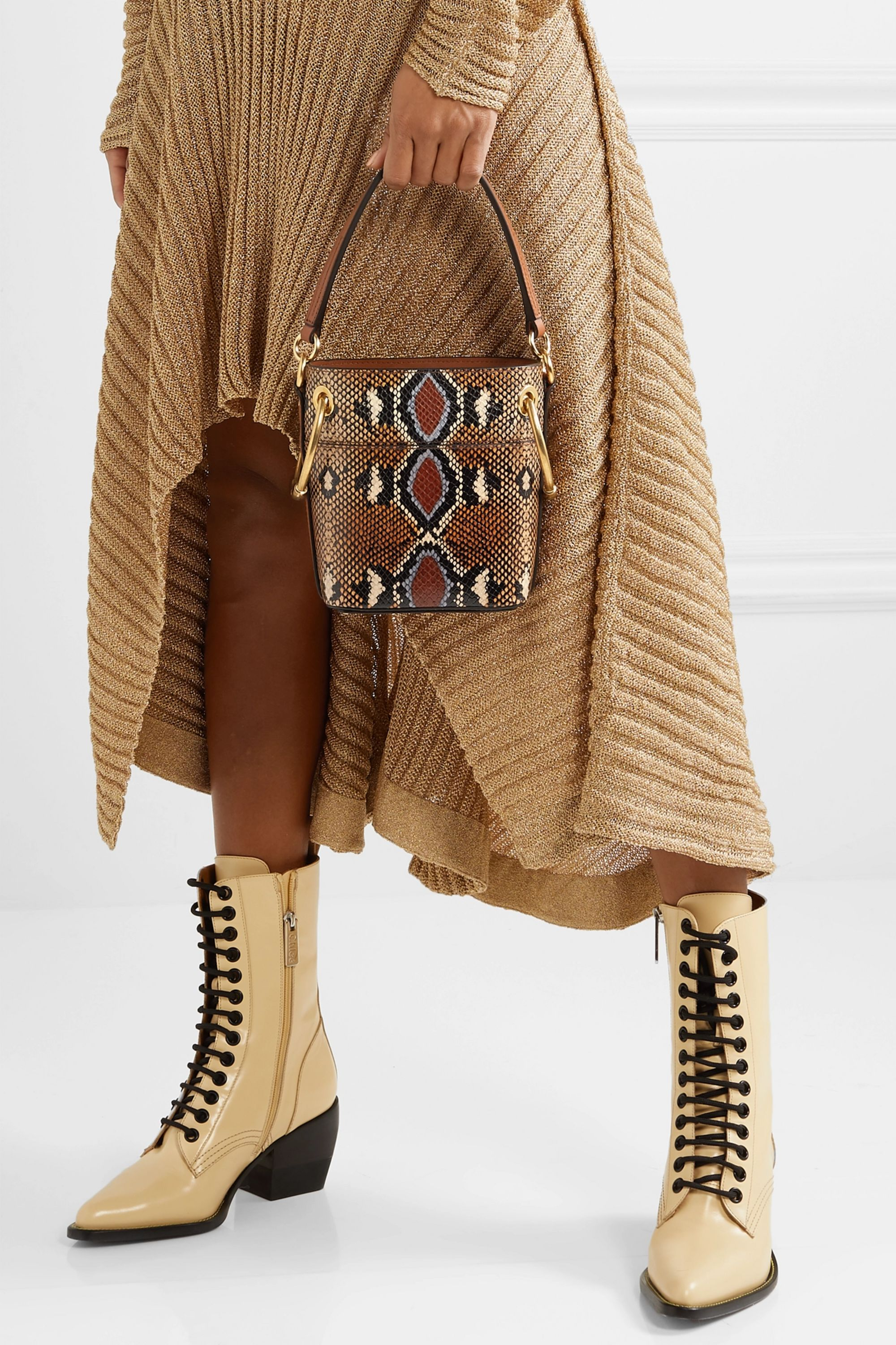 Chloé Roy mini snake-effect leather bucket bag