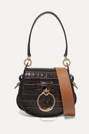 끌로에 가방 Chloe Tess small croc-effect leather and suede shoulder bag