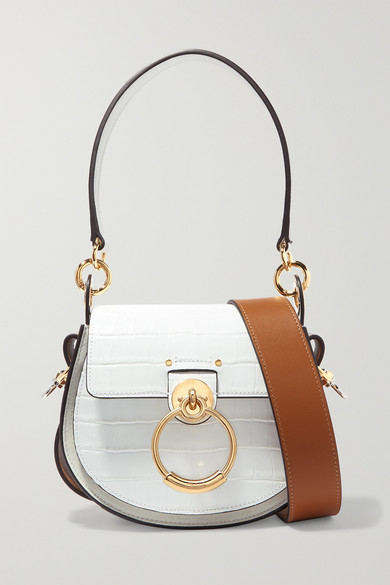 f27009182b Tess small croc-effect leather and suede shoulder bag