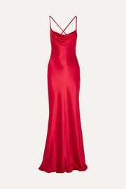Galvan Whiteley open-back silk-satin gown