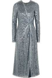 Galvan Pinwheel twisted sequined georgette dress
