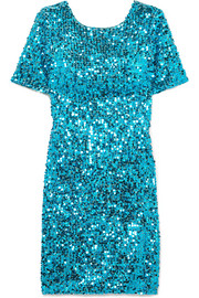 Sequined georgette mini dress