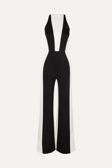 GALVAN Marlene Colourblocked Crepe And Satin Jumpsuit in Black