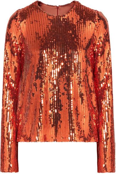 GALVAN Ladies Bronze Clara Long-Sleeved Sequinned Top