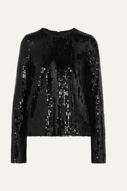Galvan Clara sequined tulle top