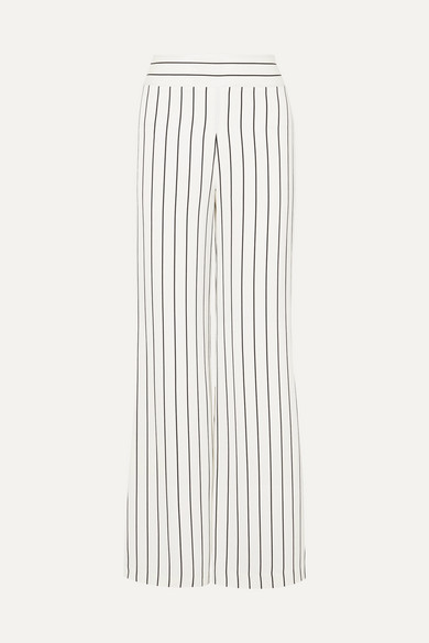 Palazzo Striped Wide-Leg Trousers in White