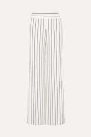 Galvan Pinstriped crepe wide-leg pants