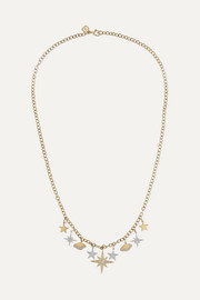 Celestial Charm 14-karat yellow and white gold diamond necklace