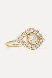 Evil Eye 14-karat gold diamond ring