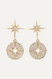 Starburst 14-karat gold diamond earrings