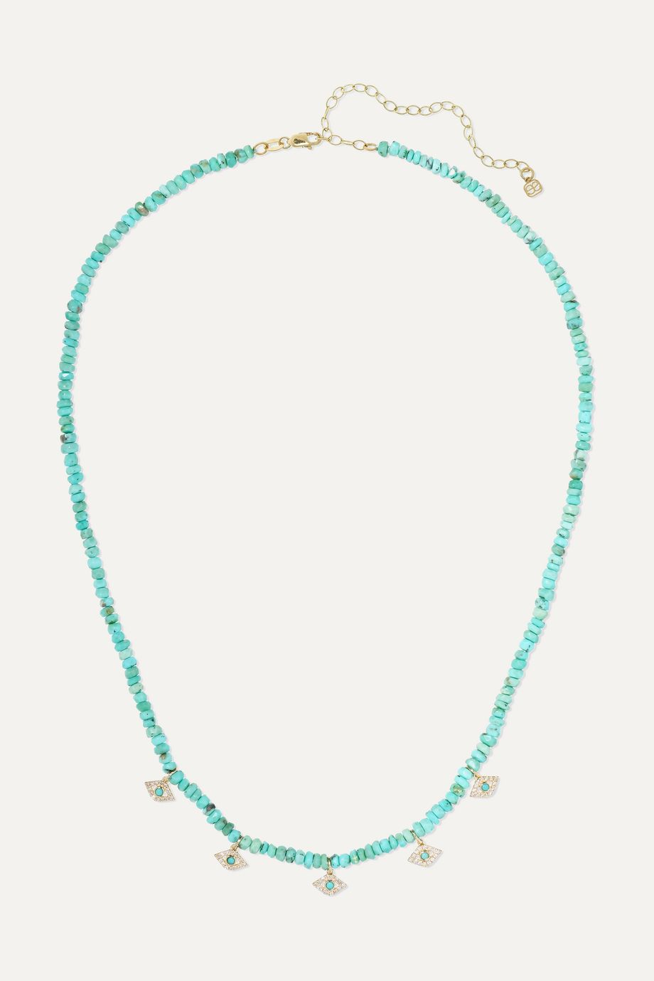 Sydney Evan Evil Eye 14-karat gold, diamond and turquoise necklace