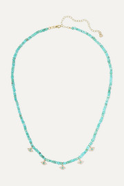 Evil Eye 14-karat gold, diamond and turquoise necklace