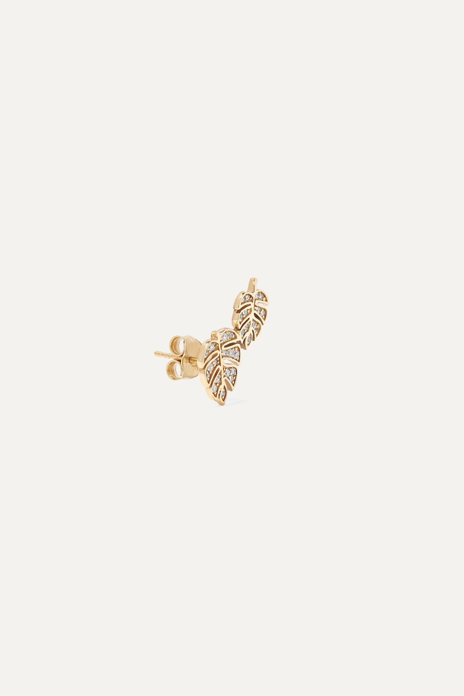Sydney Evan Monstera 14-karat gold diamond earrings