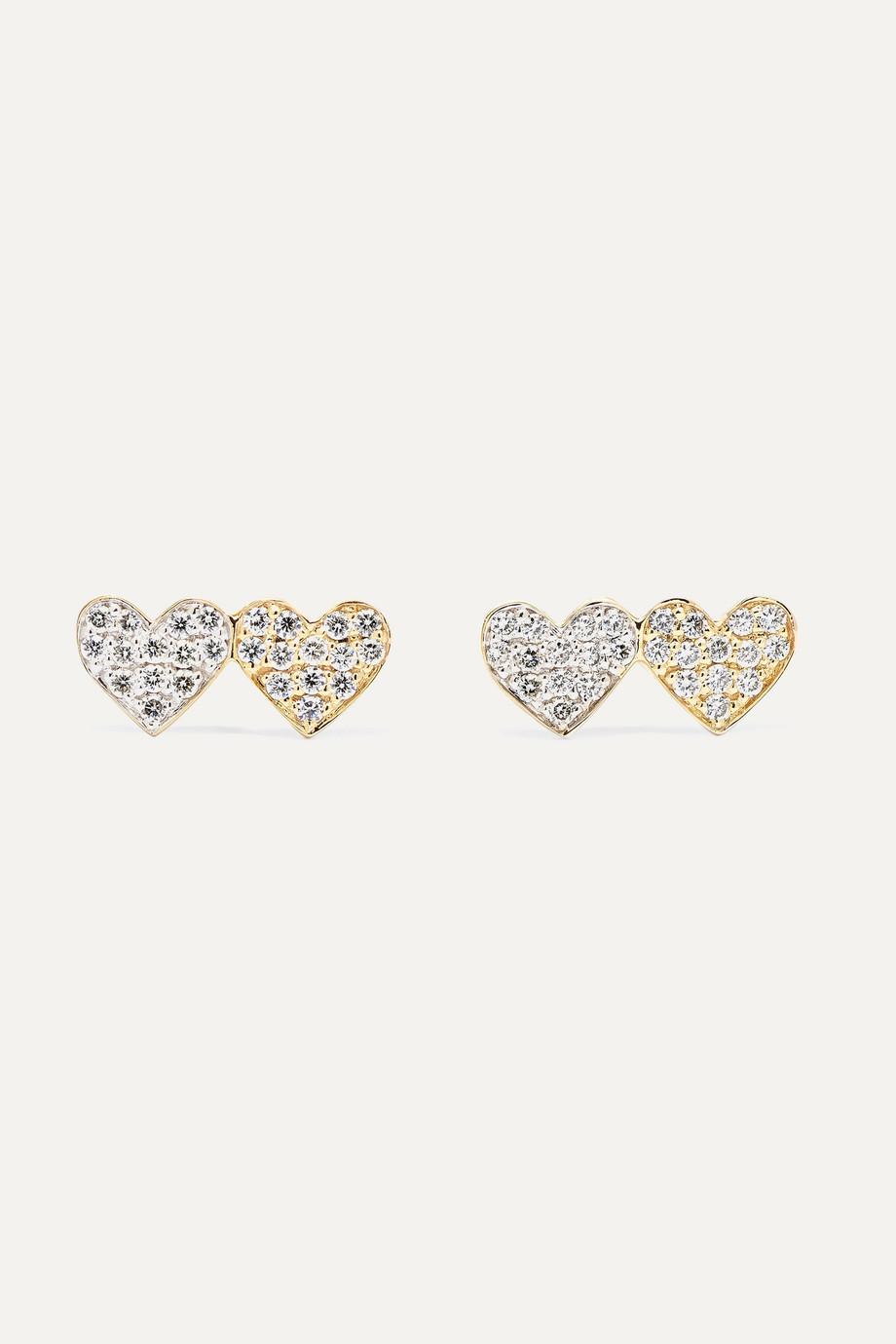 Sydney Evan Double Hearts 14-karat gold diamond earrings