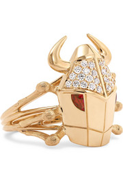 Stephen Webster Toro Beetle 18-karat gold, diamond and ruby ring
