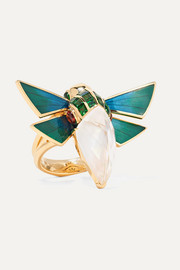 Cuckoo Bee 18-karat gold multi-stone ring