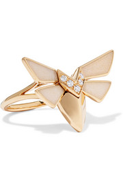 Jitterbug 18-karat gold, diamond and enamel ring