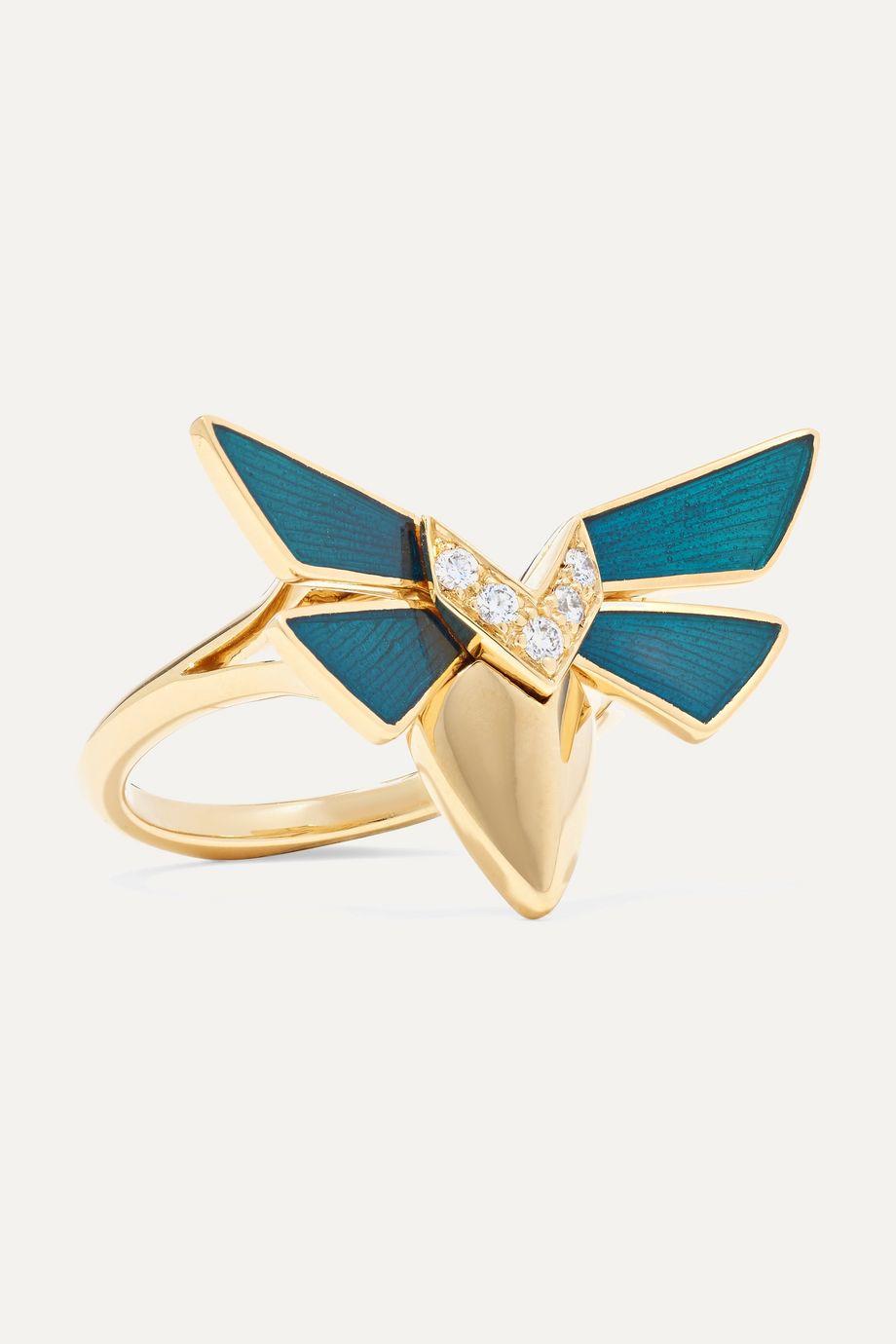 Stephen Webster Jitterbug 18-karat gold, diamond and enamel ring