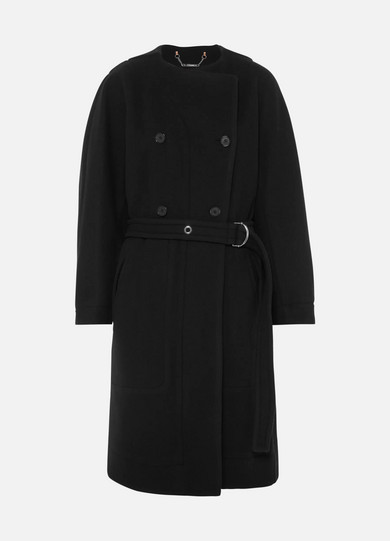 Belted Double-Breasted Wool-Blend Felt Coat in Blue