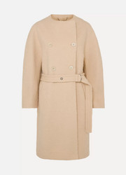 Chloé Belted wool-blend grain de poudre coat
