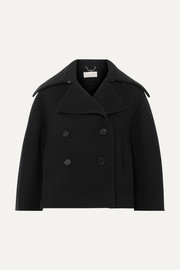 Cropped double-breasted wool-blend felt coat