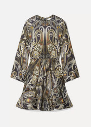 Chloé Paisley-print silk-blend Lurex mini dress
