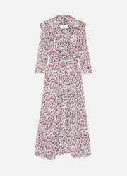 Chloé Scalloped floral-print georgette wrap maxi dress
