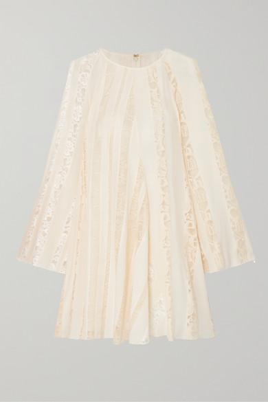 Chloé Dress Lace-paneled silk-chiffon mini dress