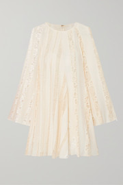 Lace-paneled silk-chiffon mini dress