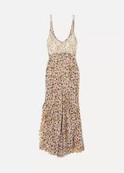 Chloé Scalloped lace-trimmed floral-print crepe dress