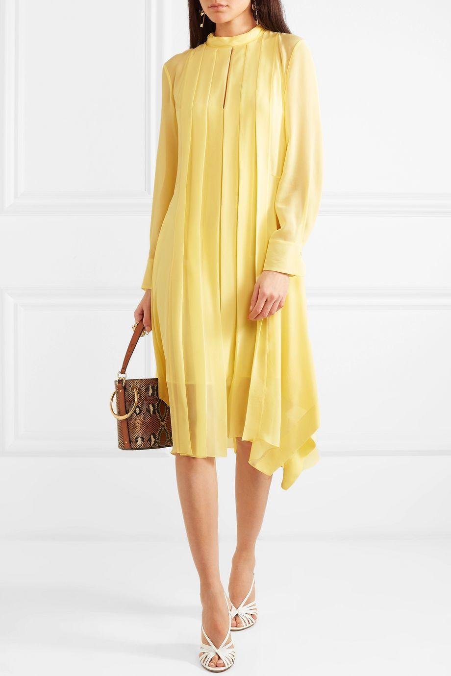 Chloé Pleated silk-chiffon dress