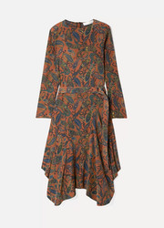 Chloé Asymmetric paisley-print silk crepe de chine midi dress