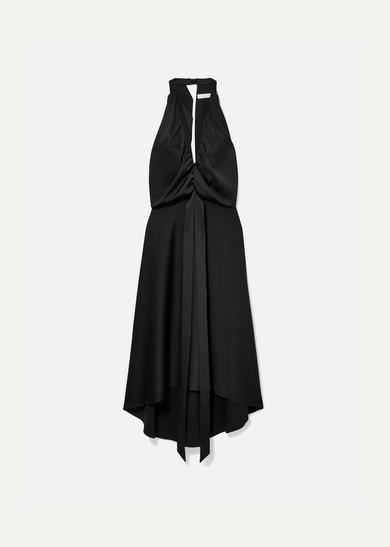 Gathered-Neck Satin Halter Gown - Black Size 36 Fr