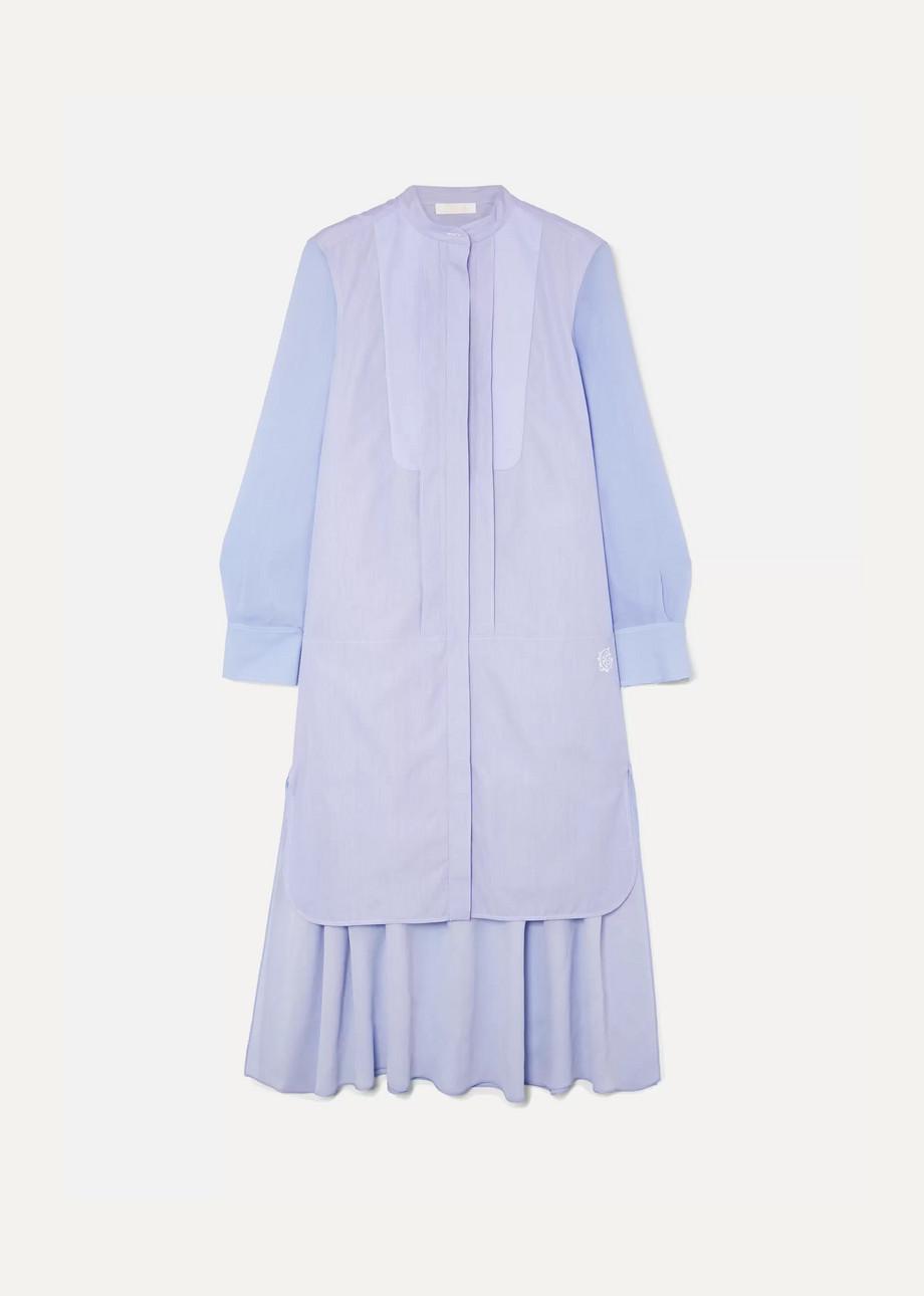 Chloé Asymmetric two-tone cotton-poplin and crepe de chine midi dress