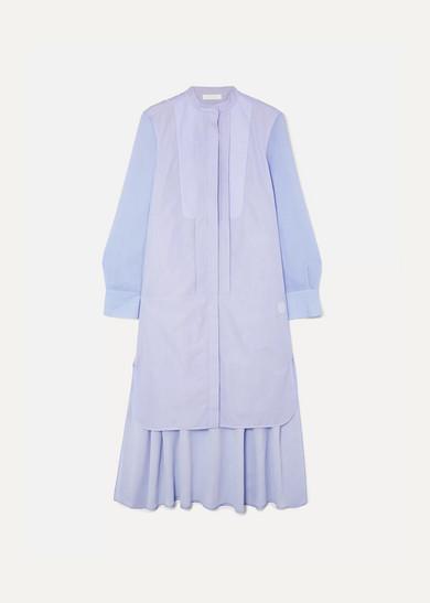 ChloÉ Asymmetric Two-Tone Cotton-Poplin And Crepe De Chine Midi Dress In Blue