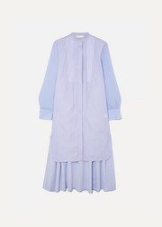Chloé Asymmetric two-tone cotton-poplin and crepe de chine midi dress