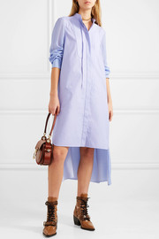 Asymmetric two-tone cotton-poplin and crepe de chine midi dress