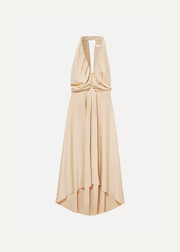 Belted open-back draped satin dress