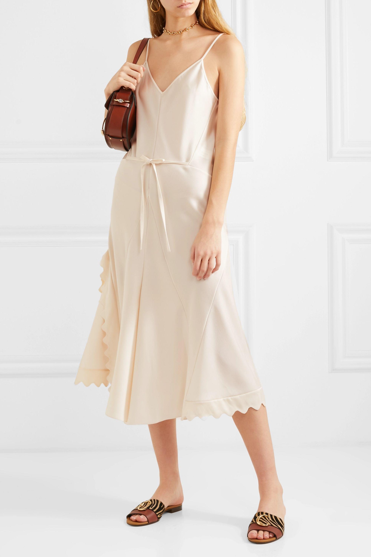 Chloé Scalloped crepe dress